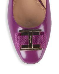 Ferragamo Purple Bow Almond Toe Leather Ballet Flats