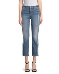 7 For All Mankind Blue Edie Frayed Seam Cropped Jeans