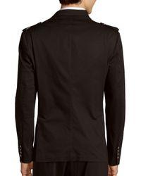 Balmain Black Solid Multi-pocket Cotton Overcoat for men