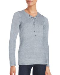 Saks Fifth Avenue - Blue Ribbed Lace-up Sweater - Lyst
