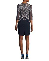 Aidan Mattox Blue Floral Print Bodycon Dress