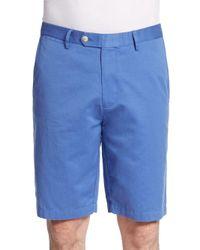 Saks Fifth Avenue Orange Pima Cotton & Linen Shorts for men