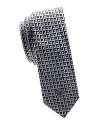 Versace Blue Logo Textured Silk Tie for men
