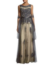 Basix Black Label Multicolor Sequin-embellished Lace Gown