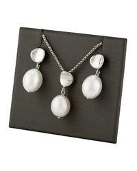 Saks Fifth Avenue Metallic Sterling Silver & 8mm Oval Freshwater Pearl Pendant Necklace & Earrings Set