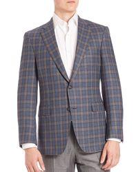 Saks Fifth Avenue - Blue Samuelsohn Classic-fit Tartan Wool Plaid Jacket for Men - Lyst