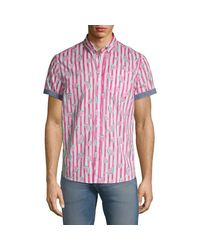 Report Collection Pink Watermelon Short-sleeve Button-down Shirt for men