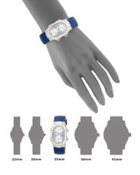 Philip Stein - Blue Signature Dual-time Stainless Steel & Embossed Leather-strap Watch - Lyst