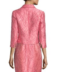 Carmen Marc Valvo Pink Jacquard Open-front Jacket