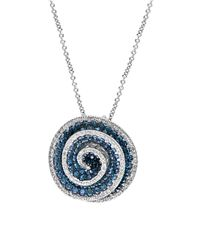 Effy - Blue Diamond & 14k White Gold Swirl Pendant Necklace - Lyst