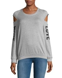 Project Social T - Gray Heathered Cold-shoulder Sweatshirt - Lyst