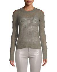 Minnie Rose Gray Cutout Cashmere Sweater