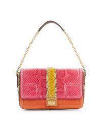 MCM Pink Leather & Skin Shoulder Bag