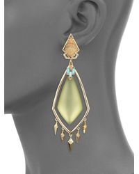 Alexis Bittar   Metallic Lucite Crystal, Picture Jasper, Howlite Turquoise & 10k Yellow Gold Drop Earrings   Lyst