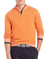 Saks Fifth Avenue - Orange Plaited Cotton Sweater for Men - Lyst