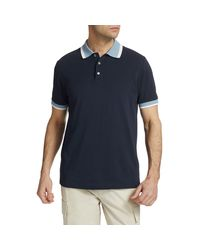 Theory Blue Standard-fit Ringer Ribbed Polo for men