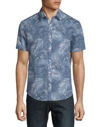 Original Penguin - Blue Leaf-print Button-down Shirt for Men - Lyst
