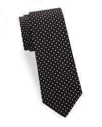 Saks Fifth Avenue Black Two Tone Dot Silk Tie for men