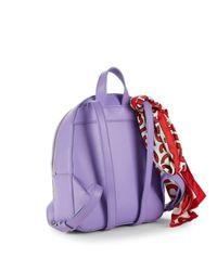 Love Moschino Purple Metallic Logo Backpack