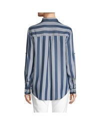 Pure Navy Blue Striped Long-sleeve Button-down Shirt