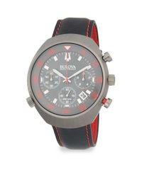 Bulova Gray Accutron Ii Stainless Steel And Leather-strap Watch for men