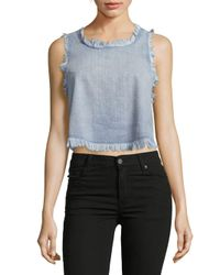 Pistola | Blue Faye Cotton Frayed Top | Lyst