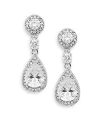 Saks Fifth Avenue | Metallic Pavé Halo Teardrop Earrings | Lyst