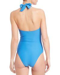 Heidi Klein - Blue One-piece Textured Halter Swimsuit - Lyst