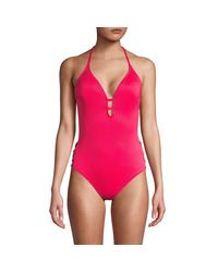 Laundry by Shelli Segal Blue Strappy Side One-piece Swimsuit