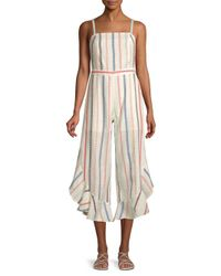 Red Carter White Everly Striped Ruffle Cotton Jumpsuit