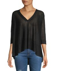 Inhabit Black Swing V-neck Linen Blouse