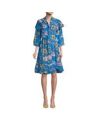 Walter Baker Blue Floral Ruffled A-line Dress