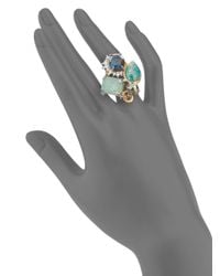 Alexis Bittar Metallic Elements Glass, Amazonite Doublet & Swarovski Crystal Cluster Ring