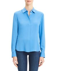 Theory Blue Core Silk Button-down Shirt