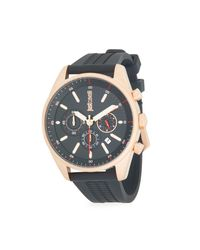 Just Cavalli Black Energia Stainless Steel Rubber-strap Chronograph Watch for men