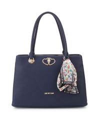 Love Moschino Blue Floral Scarf Faux Leather Tote