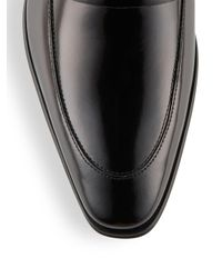 Versace Black Spazzolato Leather Loafers for men