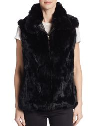 Saks Fifth Avenue Black Rabbit Fur Vest