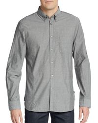 John Varvatos - Gray Embroidered Cotton Sportshirt for Men - Lyst