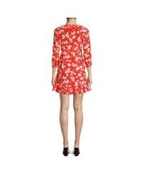 Rixo Red Abigail Floral Silk Wrap Dress