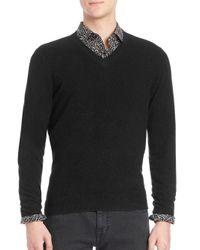 Saks Fifth Avenue - Black Cashmere V-neck Sweater for Men - Lyst