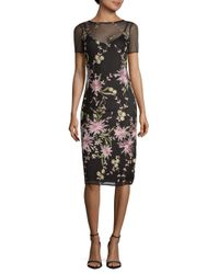 Donna Ricco - Black Floral Mesh Slip Dresss - Lyst