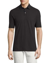 Vilebrequin Black Swiss Jersey Chrysanthe Polo for men