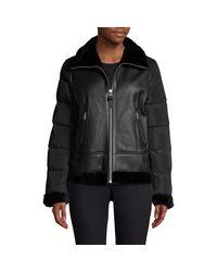 Mackage Black Vilma Shearling Trim Mixed-media Jacket