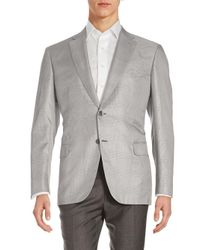 Brioni Gray Glen Plaid Silk Jacket for men