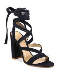 Gianvito Rossi - Blue Denim Lace-up Gladiator Sandals - Lyst