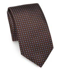 Saks Fifth Avenue - Brown Polka Dot Silk Tie for Men - Lyst