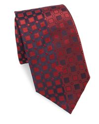 Versace Red Letter Logo Silk Tie for men