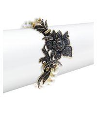 Heidi Daus - Metallic Fancy Floral Faux Pearl Bracelet - Lyst