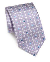 Saks Fifth Avenue Purple Collection Grid Silk Tie for men